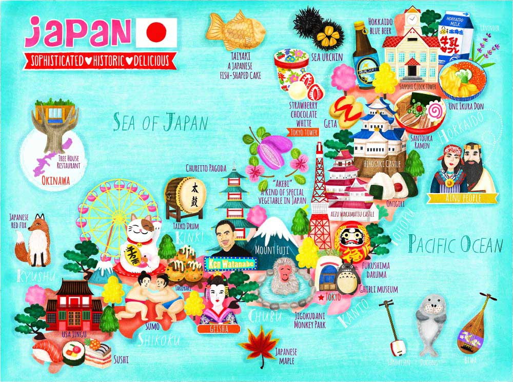 Japan Map Illustration Liv Wan Illustration - Map japan