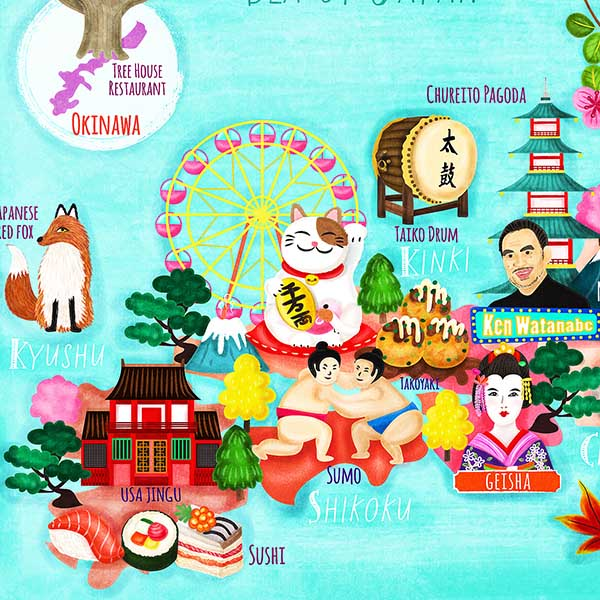Japan map illustration illustrated by illustrator Liv Wan