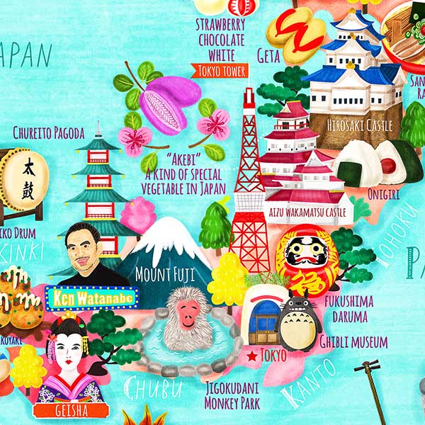Japan map vector illustration illustrated by illustrator Liv Wan