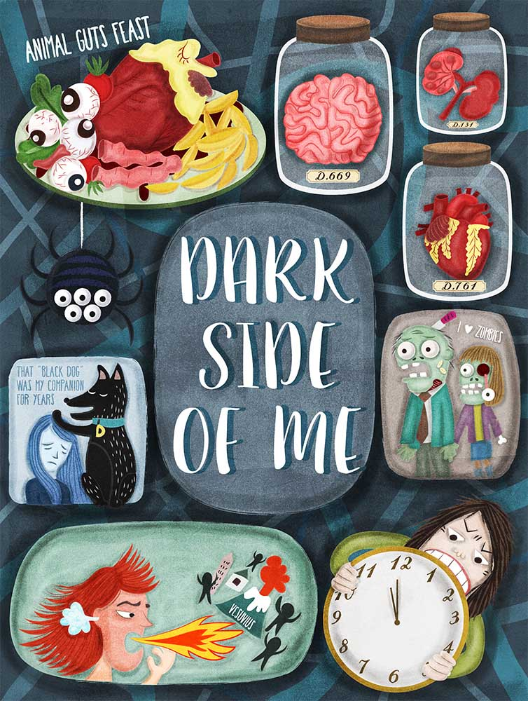 Dark side of me, an self-reflection illustration illustrated by Liv Wan