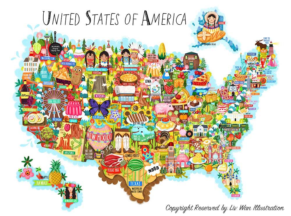 United States Of America Map Illustration Liv Wan Illustration - Usa map states