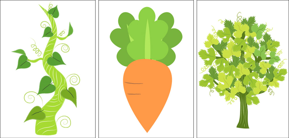 beanstalk and carrot illustration