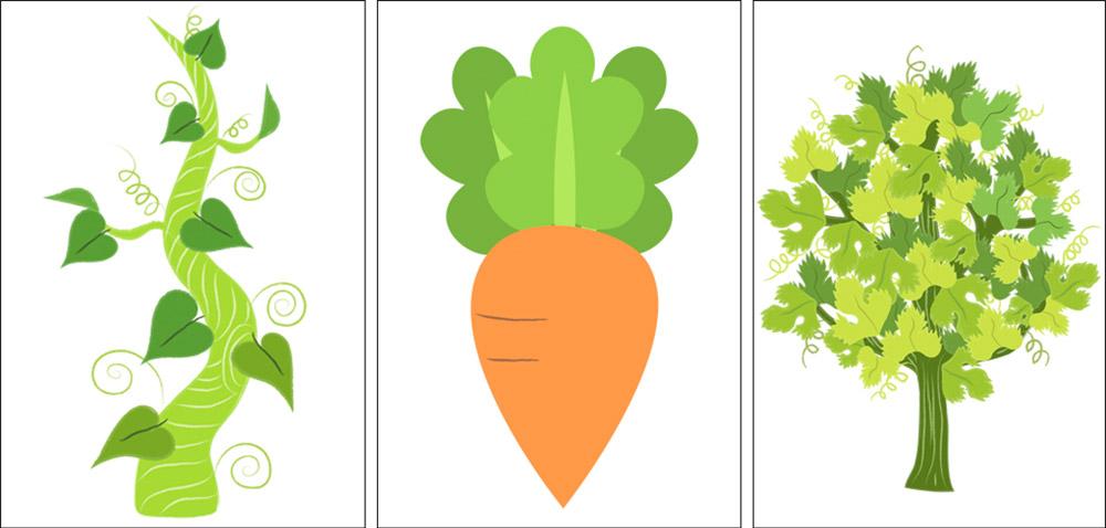 beanstalk and carrot illustration