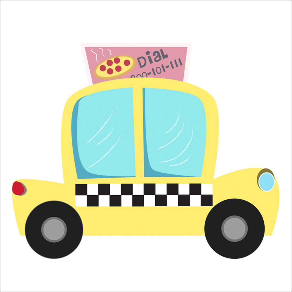 cute taxi illustration