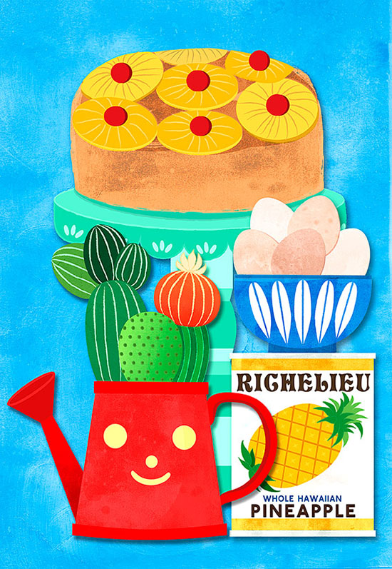 vintage pineapple upside down cake illustration