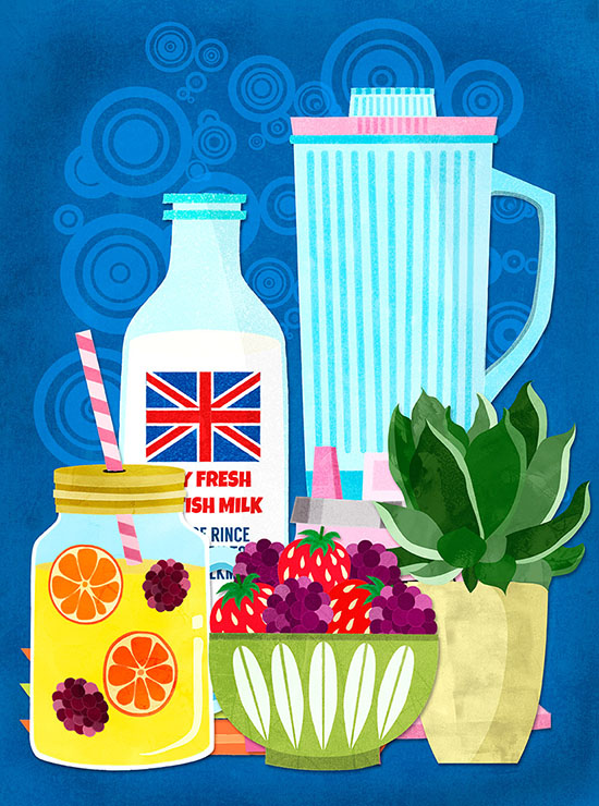 retro smoothie blender illustration