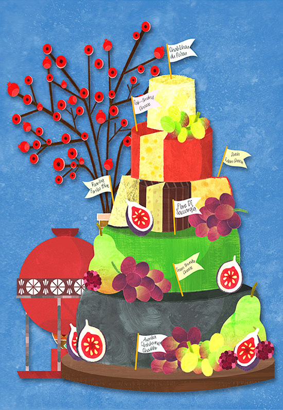 cheese tower cake illustration