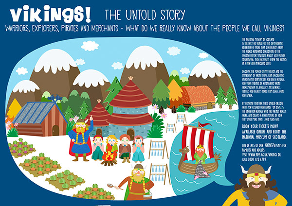 national museum of scotland vikings brochure illustration
