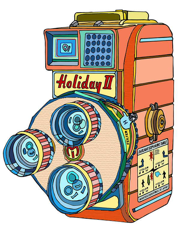 Mansfield Holiday II 8mm Vintage Movie Camera Illustration