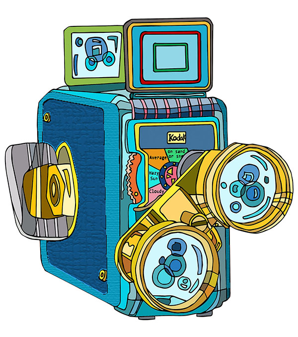 Kodak Brownie 8mm Vintage Movie Camera Illustration