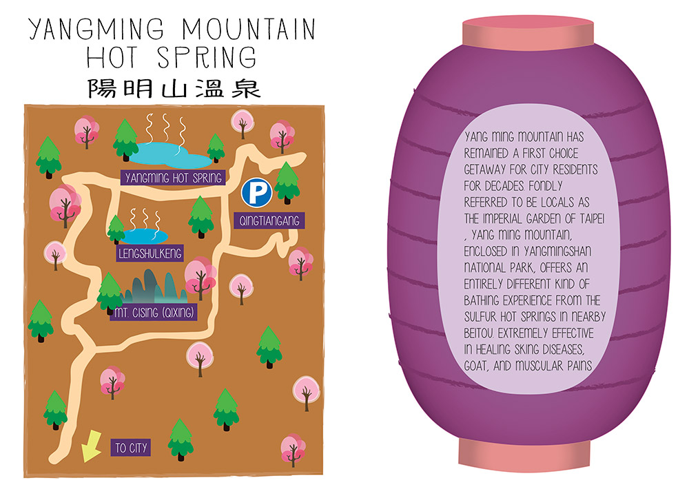 yangming mountain taiwan map illustration