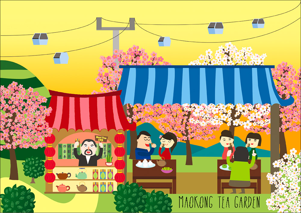 maokong tea garden illustration