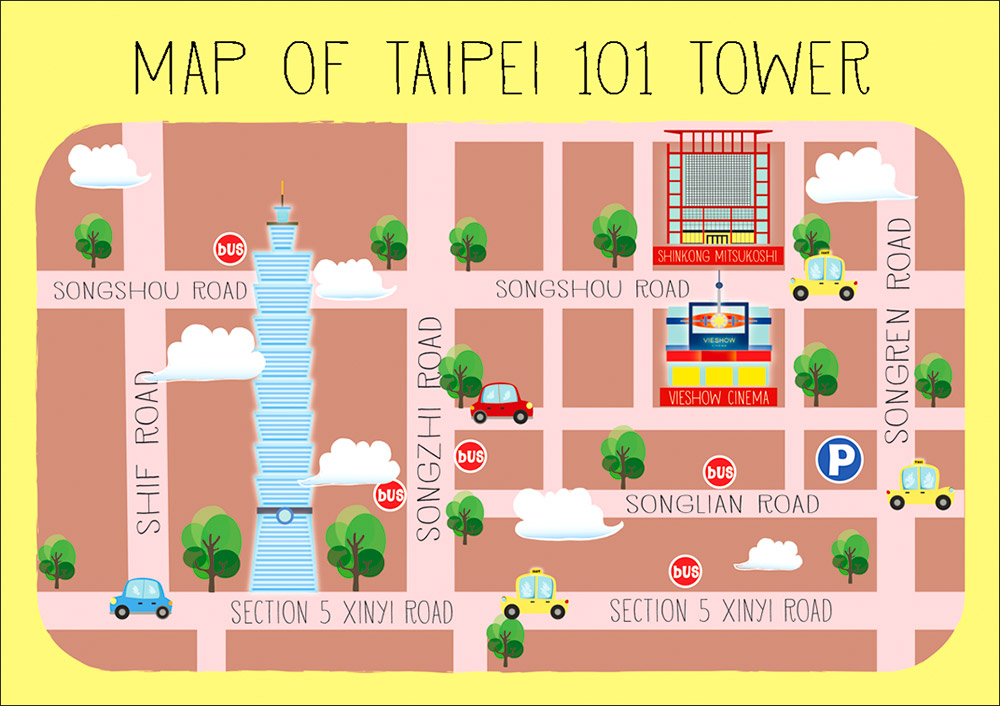 taipei 101 map illustration