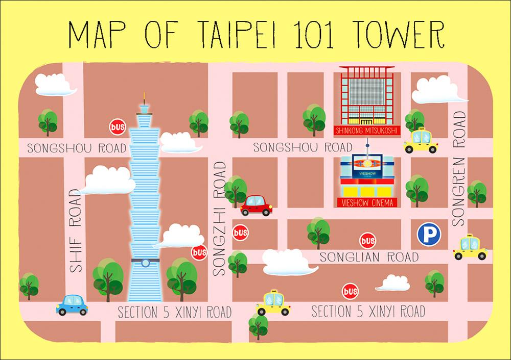 taipei 101 map illustration