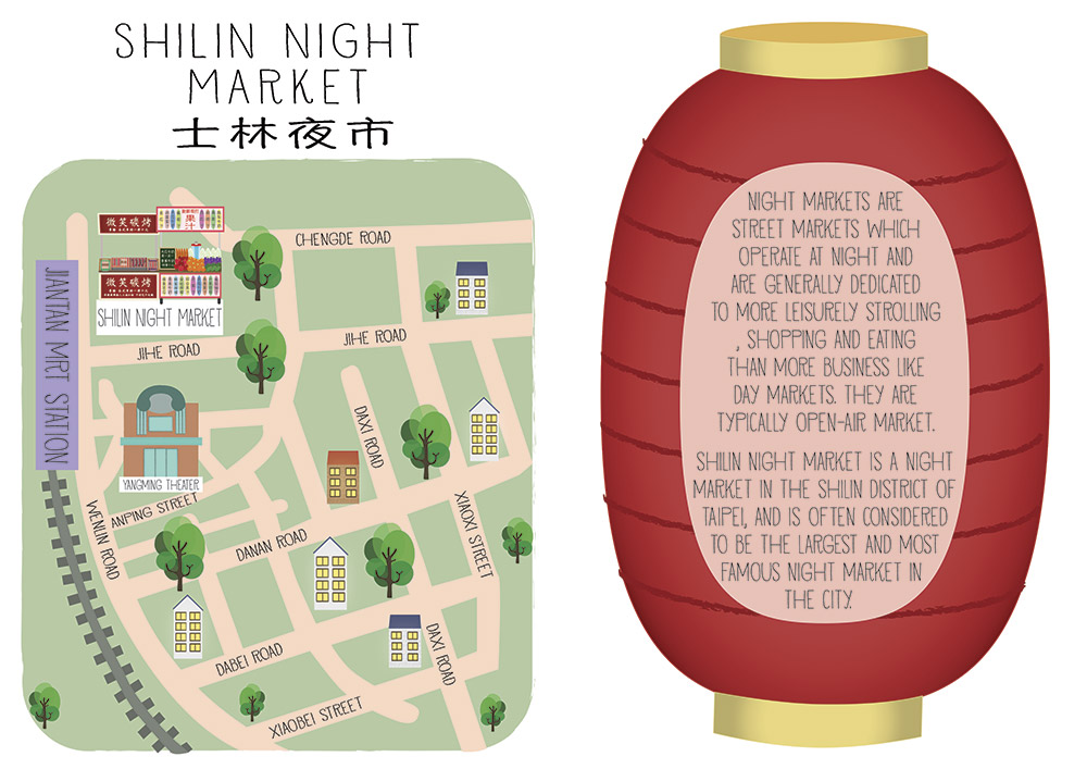 shilin night market taipei map illustration
