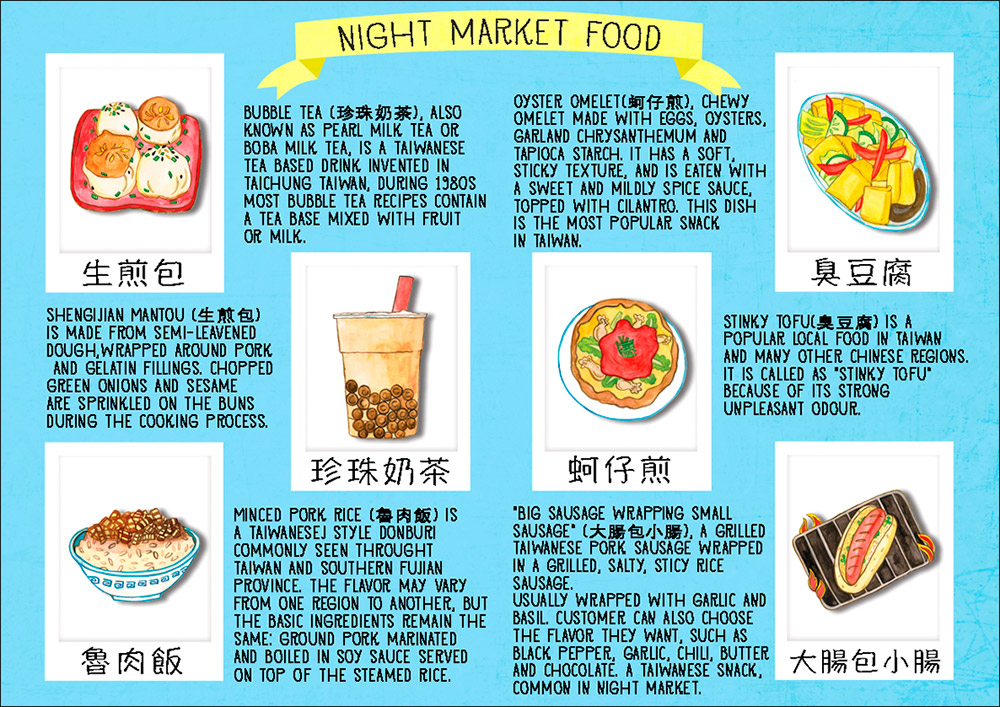 taipei night market food illustration